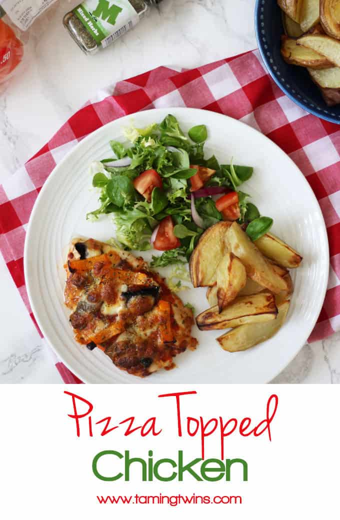 Pizza topped chicken - Chicken breasts topped with pizza toppings and mozzarella cheese, a great higher protein, wheat free, gluten free, alternative to regular pizza. Served with potato wedges and salad for a delicious dinner.