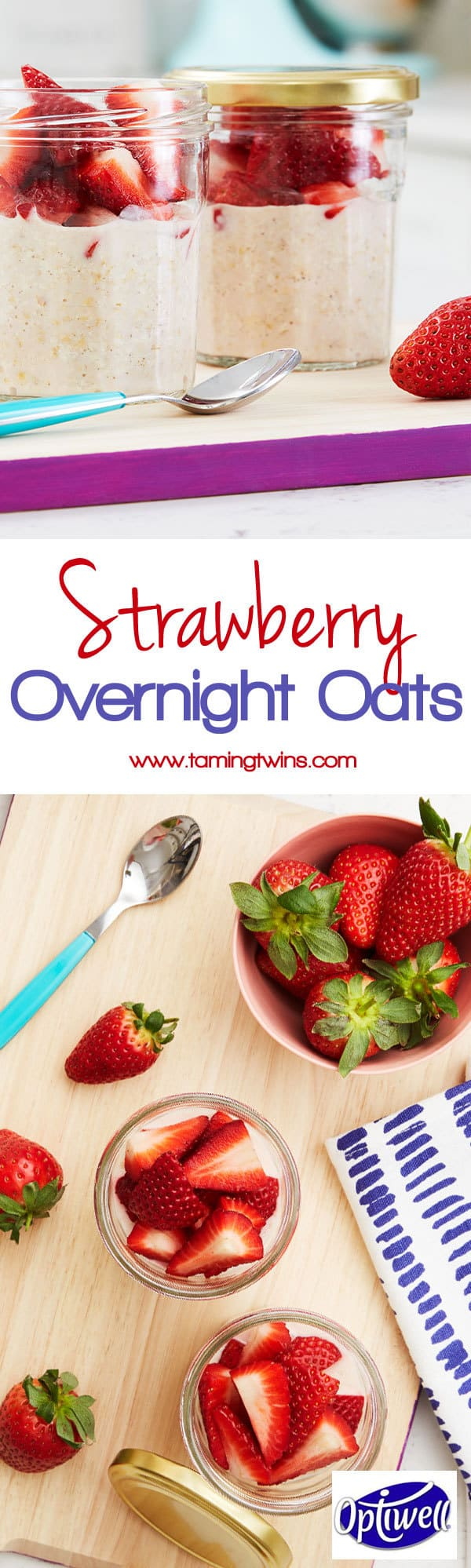 Overnight oats made with Optiwell yoghurt drink, for a higher protein breakfast, to keep you fuller for longer. Packed with strawberry and raspberry flavour. https://www.tamingtwins.com