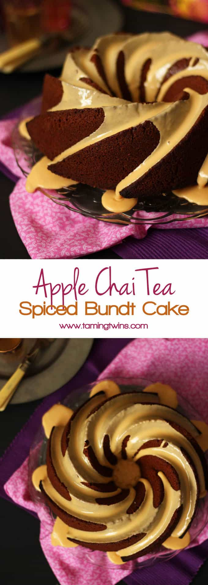 Apple Chai Spiced Bundt Cake - A warming, gently spiced bake made using a chai tea infusion for added flavour and apple sauce puree for a moreish texture. (The applesauce also makes this lower in fat than your usual bundt cake. Hurrah!)