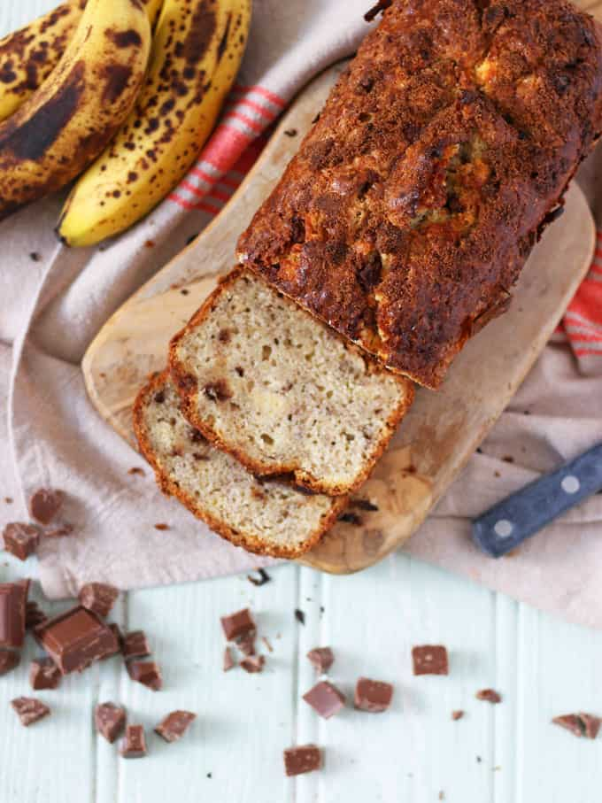 Quick and easy, one bowl, UK recipe for banana bread with chocolate chips. This banana loaf is a brilliant cake to get bake with kids!