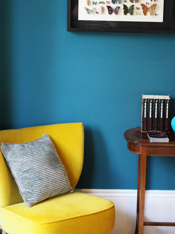 Love this yellow chair and teal wall combo.. A review of the stunning High Field Town House, Edgbaston, Birmingham. A pub with 12 beautifully decorated boutique rooms next door.