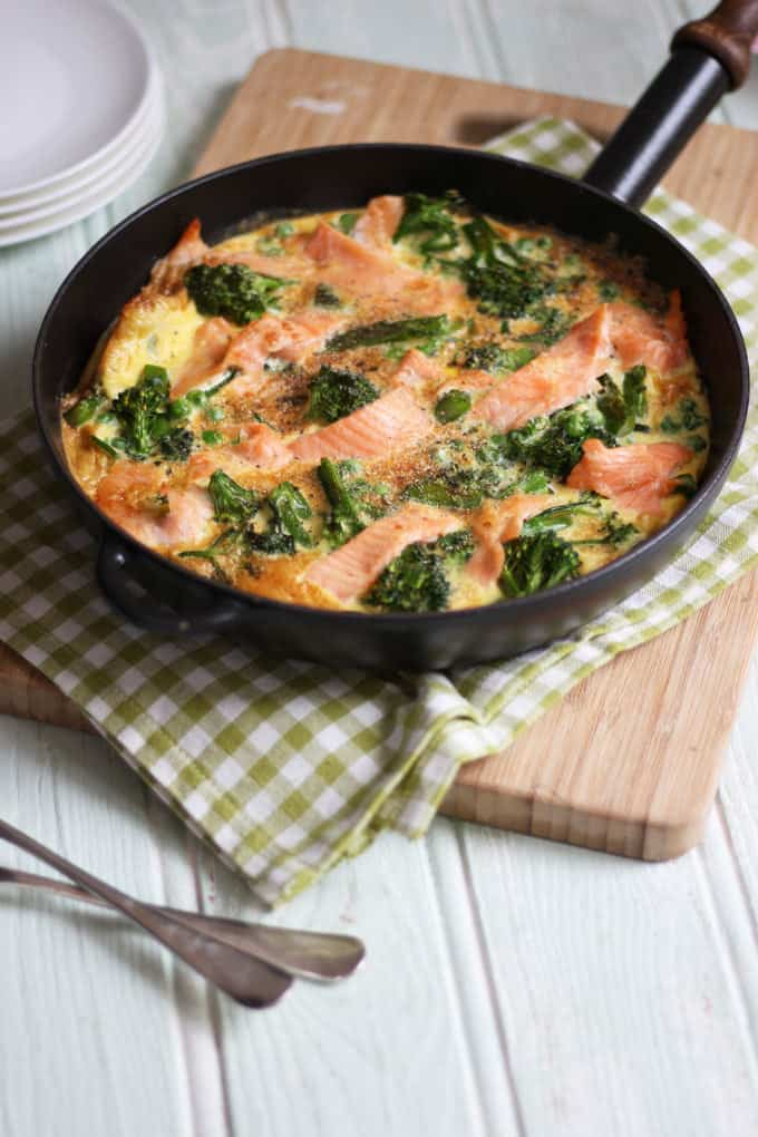 A quick and easy smoked salmon and broccoli frittata recipe, packed with protein, this makes a perfect breakfast or packed lunch, as well as a family dinner.