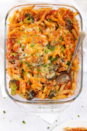 Easy tuna pasta bake with broccoli and cheesy top
