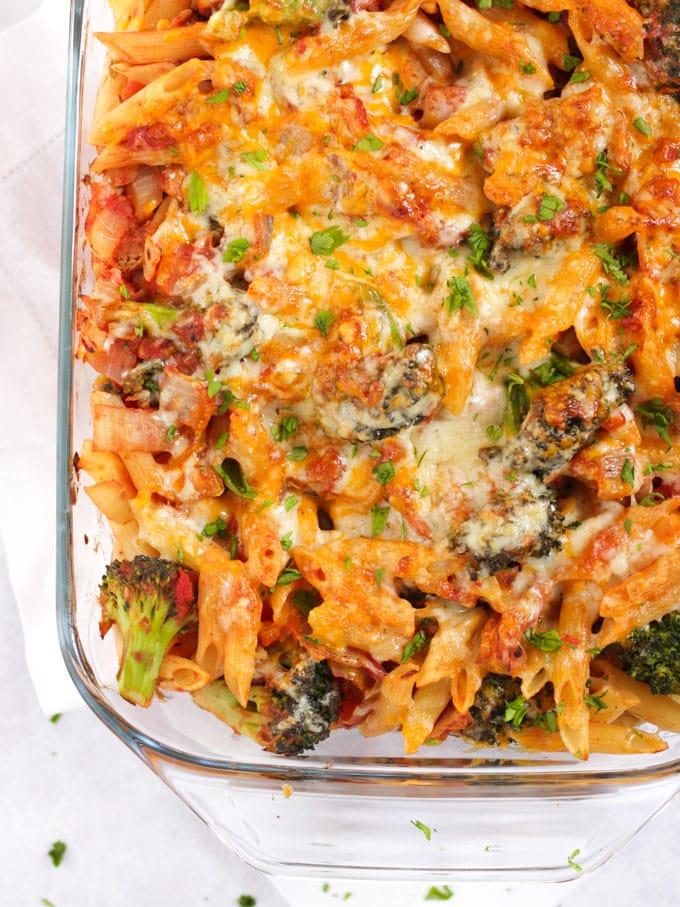 Tuna pasta bake with a cheesy top