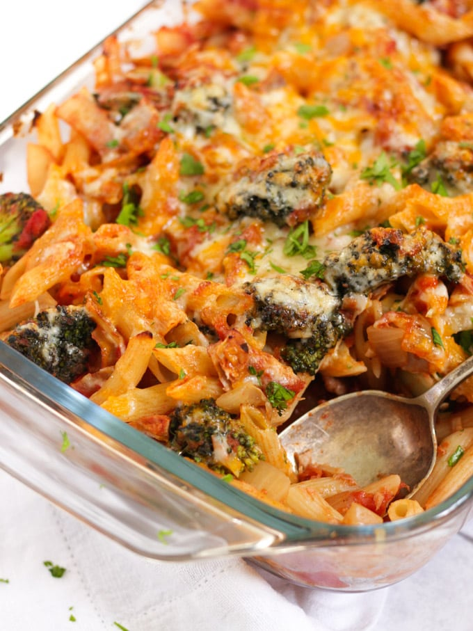 Broccoli tuna and cheese pasta bake with tomato sauce.
