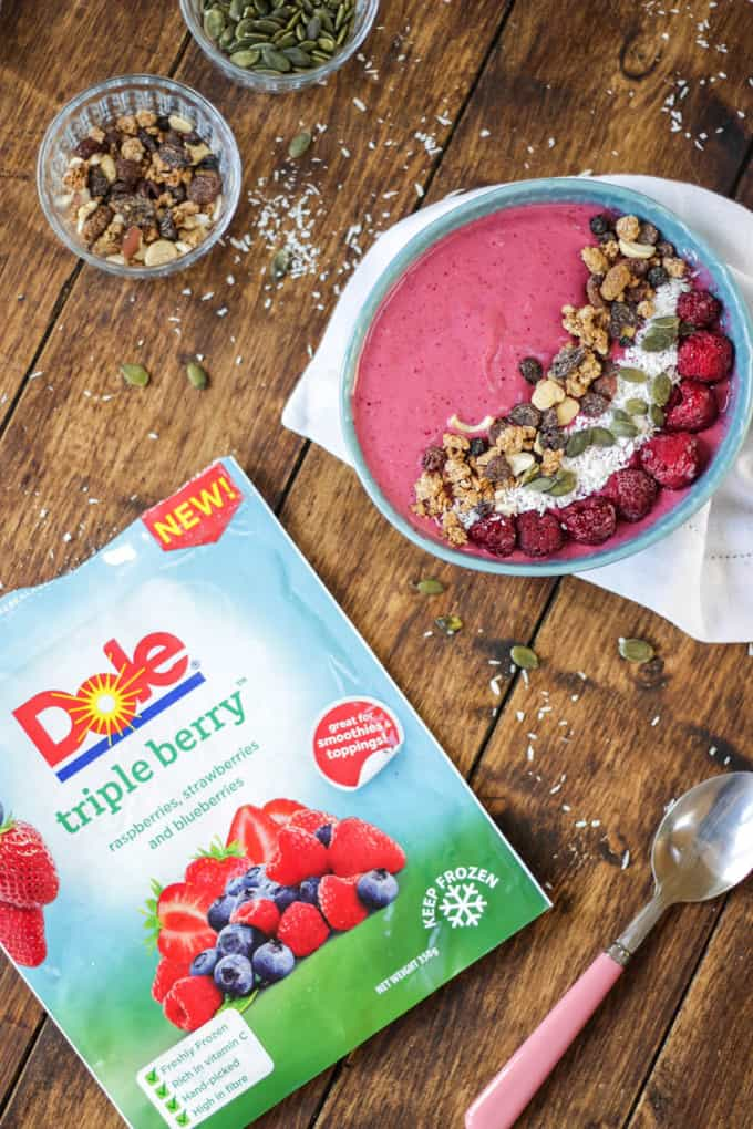 Winter Warmer Berry Smoothie Bowl - a quick and easy smoothie bowl using frozen fruit (strawberries, raspberries and blueberries) along with yoghurt and banana. With a hint of cinnamon to warm on a winter day!