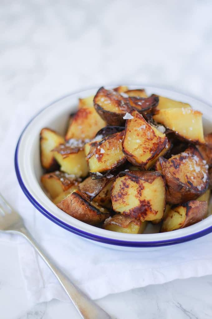 Sauteed potatoes - hot fried leftover potatoes, served with a liberal sprinkle of sea salt.