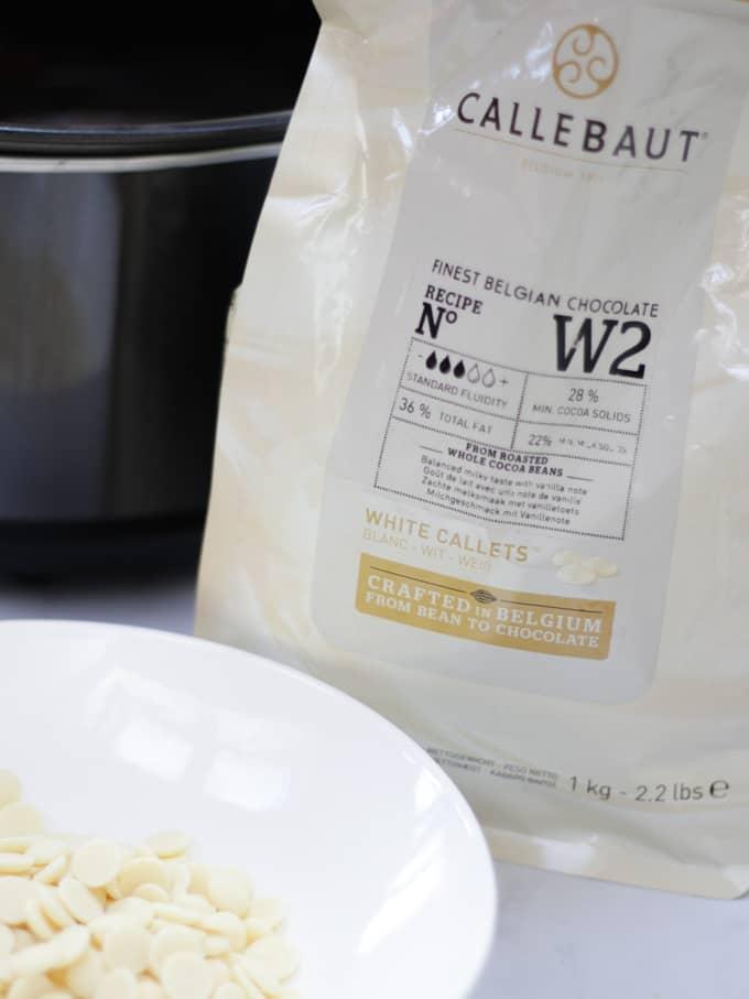 White chocolate Callebaut callets.