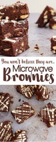 Double Chocolate Microwave Brownies - Stop what you're doing, microwave brownies are a thing and they ARE SO GOOD! They can be yours in under 30 minutes... Fudgy, chocolatey deliciousness microwaved in a flash. The perfect cake, pudding, dessert, gift or treat, these are the real deal! https://www.tamingtwins.com