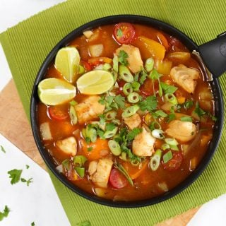 A simple and delicious family friendly fish stew recipe, based on the Brazilian dish Moqueca, with a sweet coconut creaminess that kids will love.