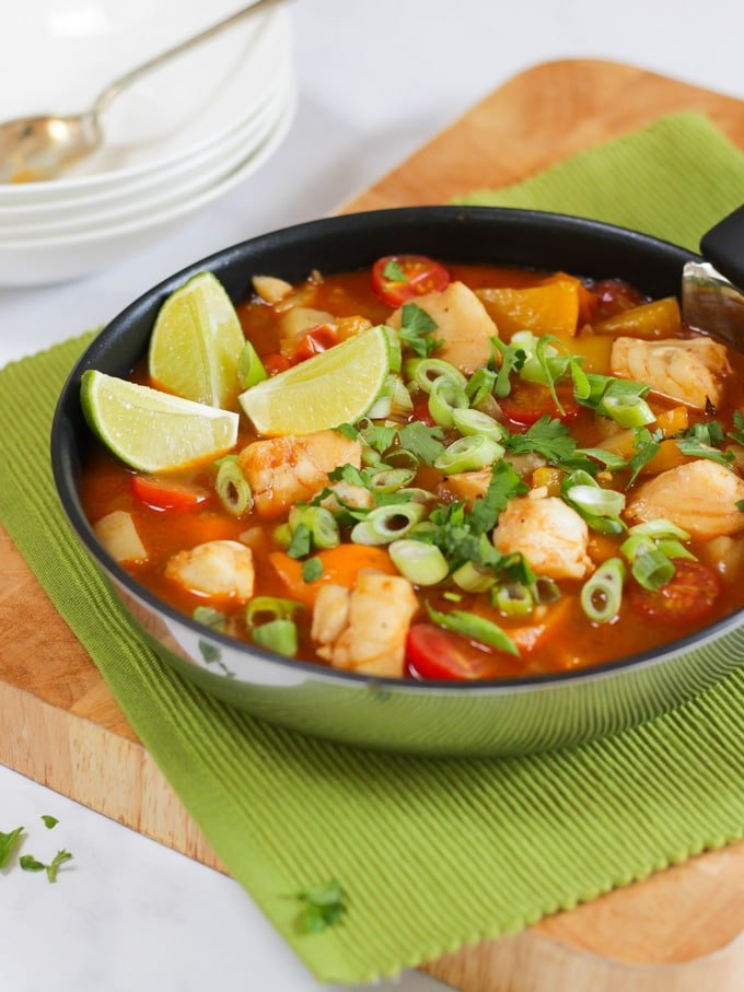 Brazilian fish stew recipe with cod, tomatoes and lime.
