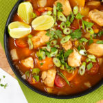 Easy fish stew recipe with lime wedges