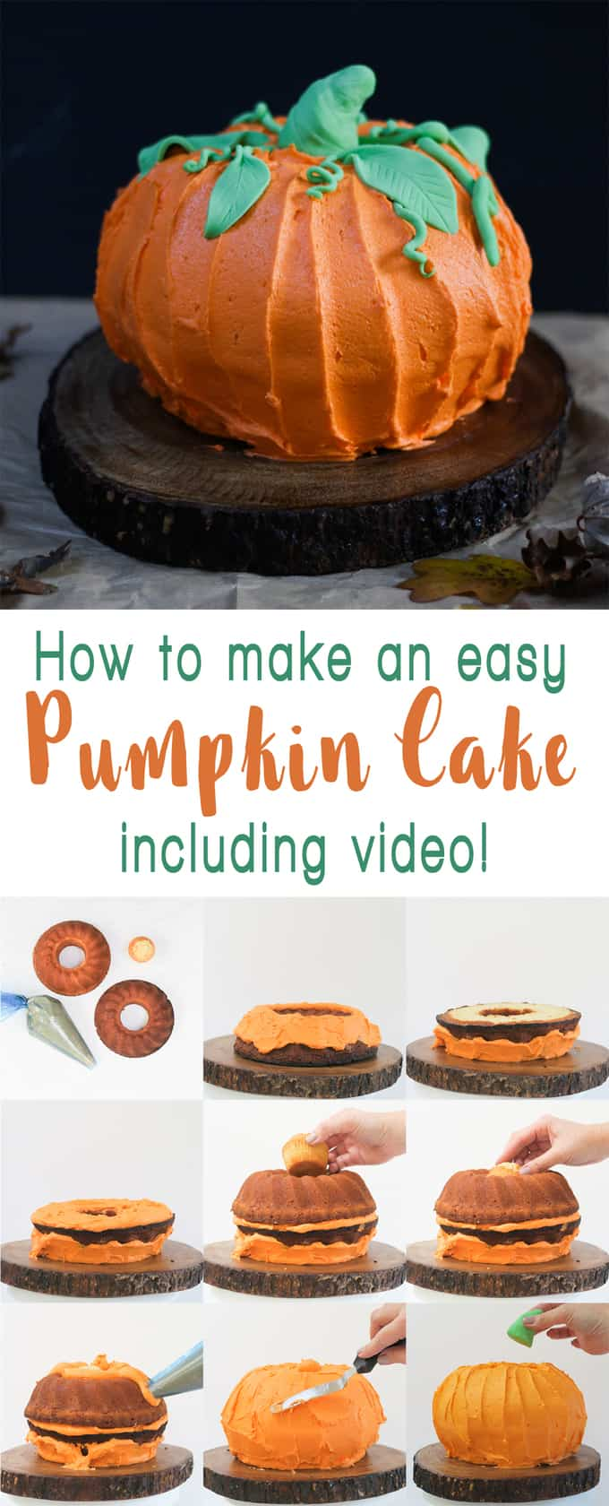 How to make a Pumpkin Bundt Cake - Perfect for Halloween, this easy peasy cake is so much fun to make! Filled with buttercream icing - the best frosting - kids will love this cake!