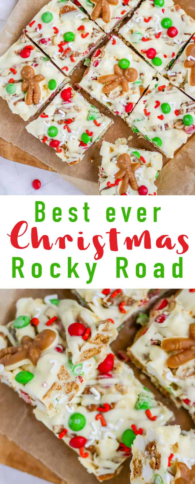 Christmas Rocky Road - The perfect festive sweet or dessert for Christmas. Make this no bake treat in December for parties or homemade gifts for friends and family.