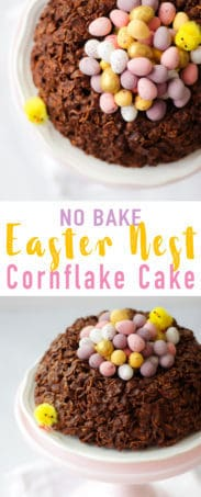 This easy GIANT Easter Nest Cornflake Cake Recipe is so much fun to make. Simple and really tasty, a fab no bake Easter make full of candy treats. It uses just 5 store cupboard ingredients - butter, chocolate, golden syrup and cornflakes.. Topped with Mini Eggs of course!