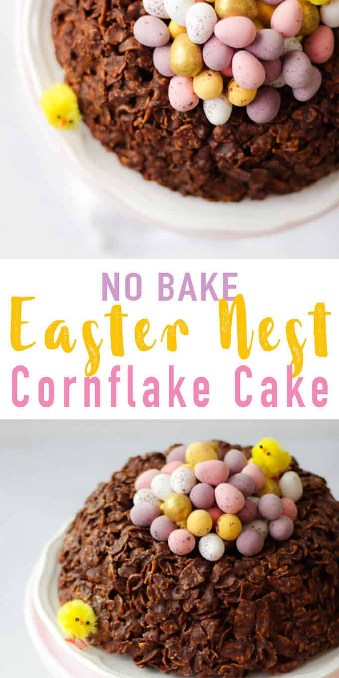 This easy GIANTEaster Nest Cornflake Cake Recipe is so much fun to make. Simple and really tasty, a fab no bake Easter make full of candy treats. It uses just 5 store cupboard ingredients - butter, chocolate, golden syrup and cornflakes.. Topped with Mini Eggs of course!