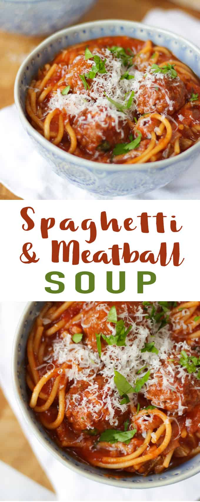 This Easy Meatball Soup Recipe is perfect for a quick supper or for using up leftover meatballs. The family pleaser midweek meal is a dinner that everyone will enjoy. Packed with veggies and spaghetti, it also freezes really well.