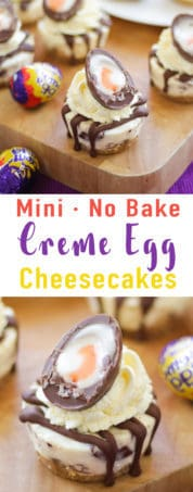 Mini No Bake Creme Egg Cheesecake Recipe - delicious light and creamy no bake Easter dessert. The perfect cake for your Easter celebration! *Including video tutorial*