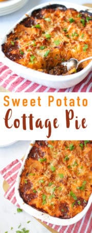 Sweet Potato Cottage Pie - Rich beef mince filling with carrots, celery and onions. This healthy cottage pie recipe makes the perfect family dinner recipe.