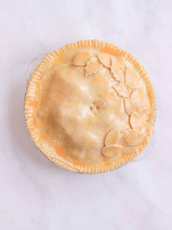 Chicken pie with leaf cut outs on pastry on white background.
