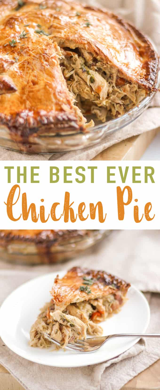 This Chicken Pie recipe has everything you need in a creamy chicken pie. Moist, tasty, home cooked chicken, added vegetables and a light chicken pie sauce made with the chicken stock. Add in some crispy bacon and delicious shortcrust pastry and this easy chicken pie recipe is a winner!