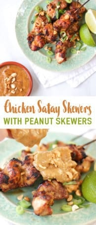 This Chicken Satay Skewers with Peanut Sauce recipe makes a really tasty family dinner. Learn to make this quick and easy satay sauce from scratch. The marinated chicken satay skewers are served with a satay curry sauce made with peanut butter, garlic, honey and ginger. It also freezes well.