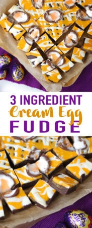 Learn how to make Creme Egg fudge with this super simple and easy recipe. This slow cooker fudge recipe uses your crock pot for simple and delicious fudge every time. Just 3 ingredients! No boiling of sugar, it uses condensed milk and chocolate instead. Such a delicious treat as an Easter sweet or dessert.