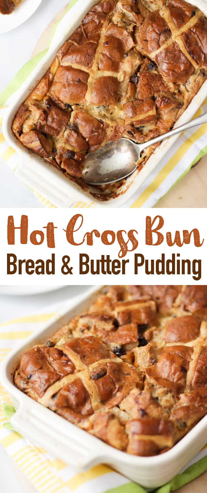 This Hot Cross Bun Bread and Butter Pudding is the perfect warming Easter dessert. Really simple to make using the traditional Easter Hot Cross Buns. It's also a great way to use up leftover buns, milk and cream. This Easter Pie is the tastiest end to your Easter lunch!
