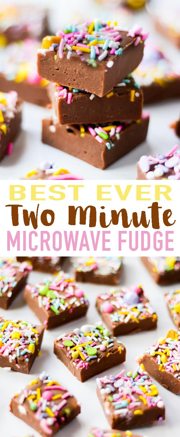 This Microwave Fudge recipe uses just two ingredients - chocolate and condensed milk. It works every time and is made in just two minutes. Add your own flavourings and toppings for truly delicious fudge. Read on for tips and tricks for the VERY best microwave fudge.