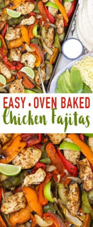 These Easy Baked Chicken Fajitas are a simple, quick family dinner.Chicken breast pieces, coated in fajita seasoning, withpeppers and onions oven cooked to perfection. Serve with tortillas, sour cream or yoghurt, grated cheese and avocado for a complete meal.