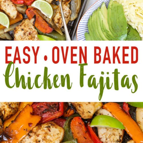 These Easy Baked Chicken Fajitas are a simple, quick family dinner. Chicken breast pieces, coated in fajita seasoning, with peppers and onions oven cooked to perfection. Serve with tortillas, sour cream or yoghurt, grated cheese and avocado for a complete meal.