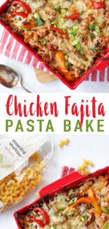 A simple and delicious Chicken Fajita Pasta Bake Recipe. Loaded with all of your favourite fajita flavours in a pasta bake. Tasty chicken, with delicious peppers and creamy cheesy pasta. A delicious family friendly midweek meal.