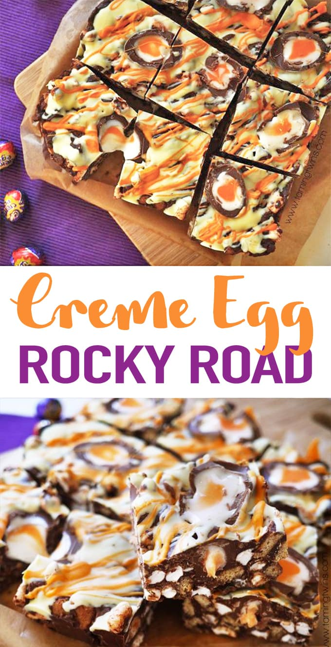 Super easy, no bake, utterly delicious Creme Egg Rocky Road recipe. Great for bake sales and making with kids, the best Easter chocolate treat! This no fail chocolate dessert recipe is a must make for Easter. #easter #rockyroad #tamingtwins #easterrecipe