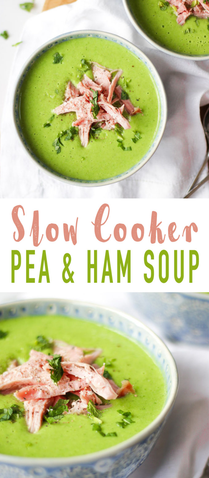 Slow Cooker Pea and Ham Soup - Made with a whole gammon joint cooked in the slow cooker, frozen fresh peas and mint for a delicious, light and healthy soup. This simple soup is so easy and warming. Add crusty bread for a really tasty meal.