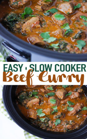 This Slow Cooker Beef Curry is a simple, prepare ahead midweek meal. A tasty 'fakeaway' curry, the slow cooked beef pieces are cooked in a tomato sauce. This crock pot beef stew style curry is also easily adaptable to the Slimming World or Weight Watchers plan as it's light, healthy and low fat.