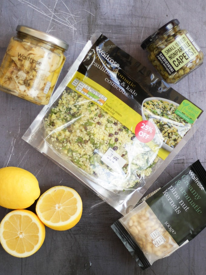 Cauliflower Cous Cous from Waitrose in pack, plus lemons, artichokes, pine nuts and capers.