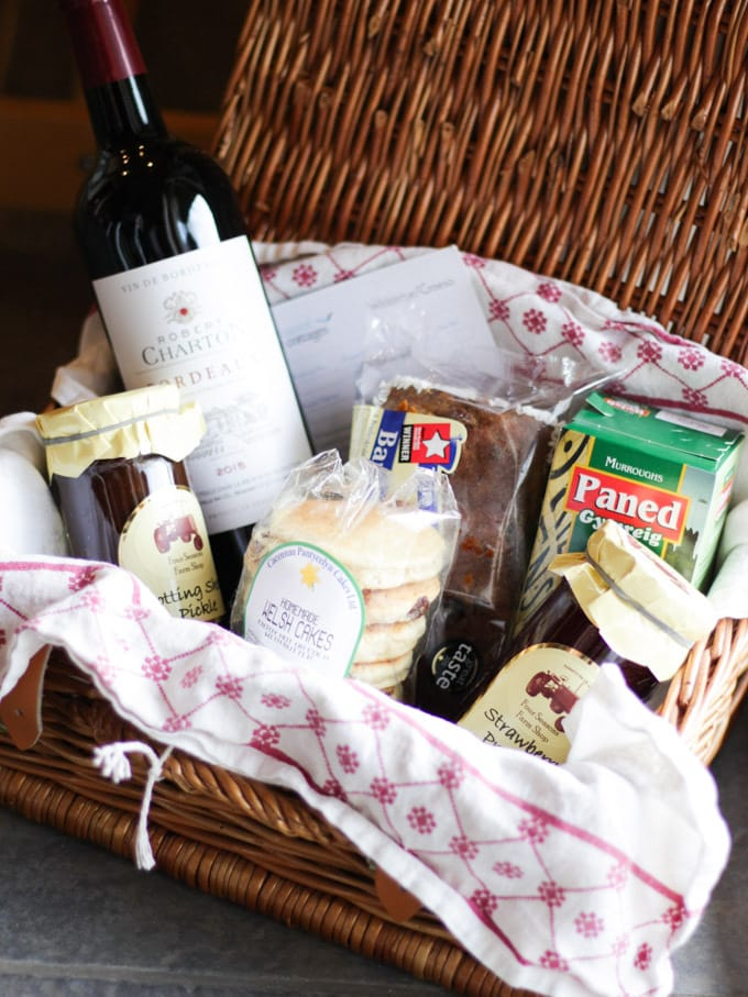 Welcome hamper of Pembrokeshire food from Coastal cottages in Pembrokeshire near Tenby.