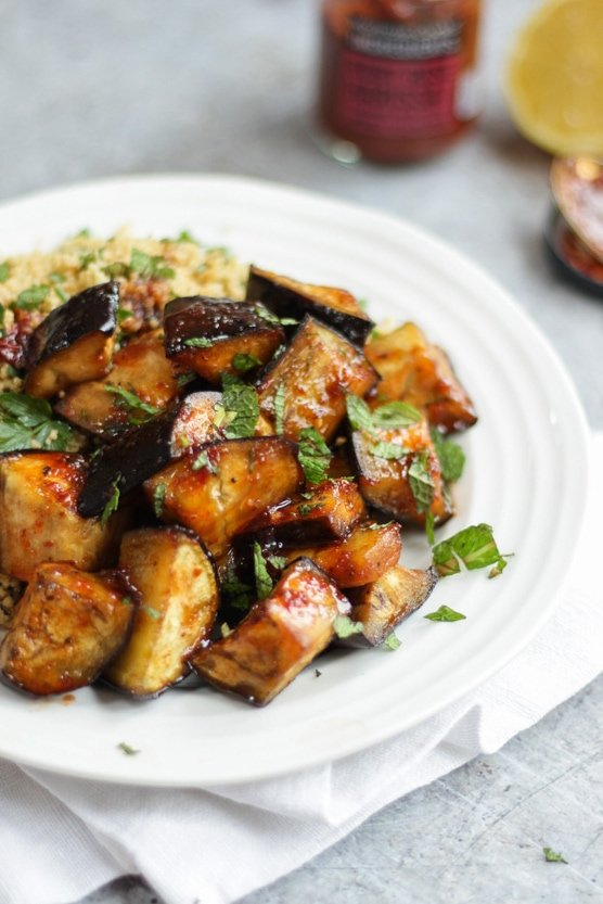 Deliciously simple and healthy vegetarian Spiced Honey Aubergine recipe with Cous Cous from Waitrose Beautifully Simple recipe ideas. #tamingtwins #aubergine #eggplant #vegetarian #couscous
