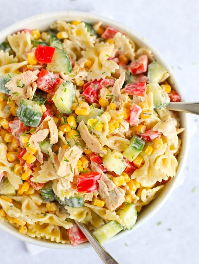 Easy tuna Pasta salad with peppers and corn