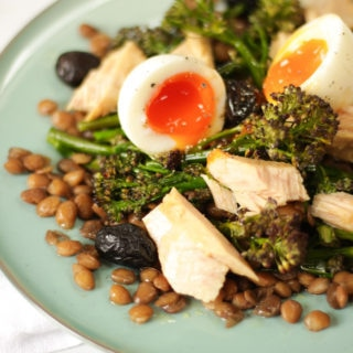 Tuna Salad with Tenderstem Broccoli and Soft Boiled Eggs