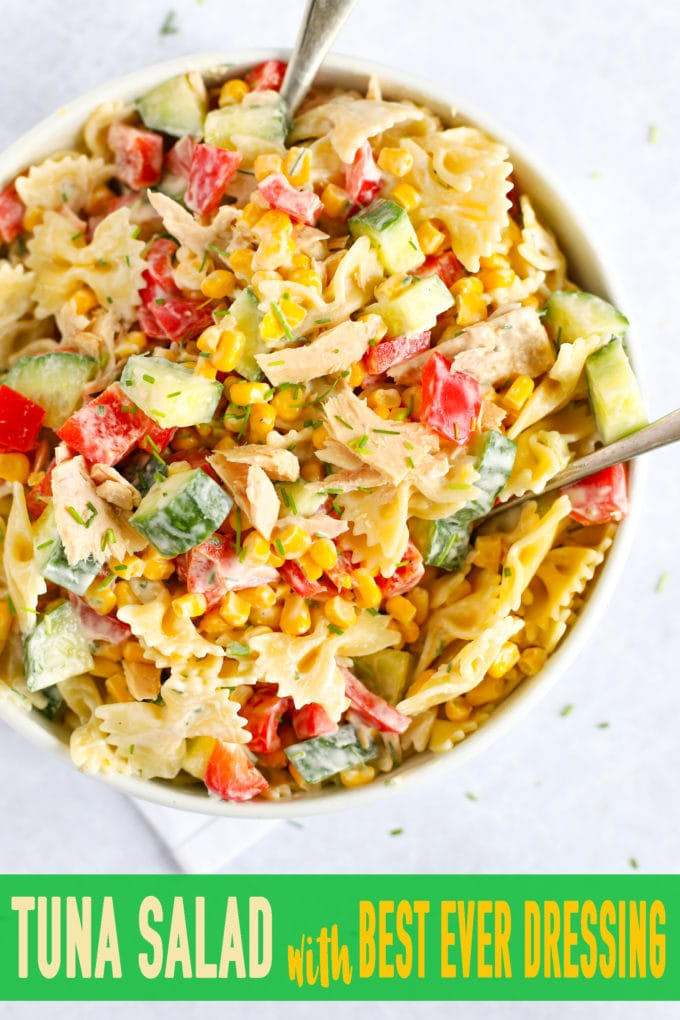 Healthy and quick Tuna Salad with pasta, peppers, sweetcorn and dressing
