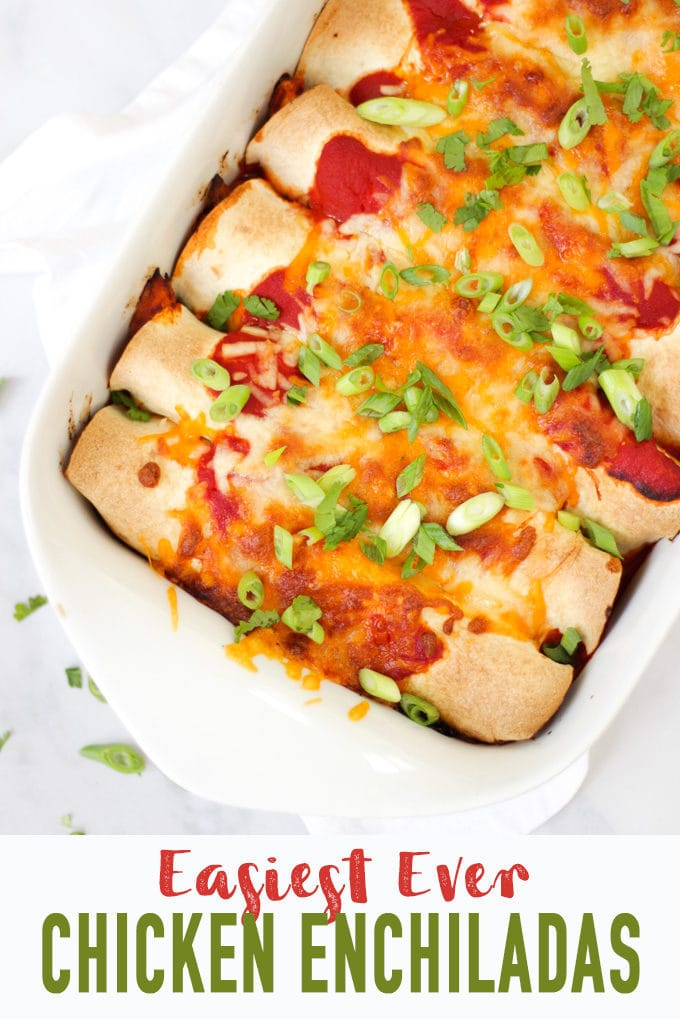 Overhead photo of chicken enchiladas in a white rectangular dish with tomato sauce, cheese melted, onions (scallions) and coriander (cilantro) for easy chicken enchiladas recipe which is also slimming world friendly.