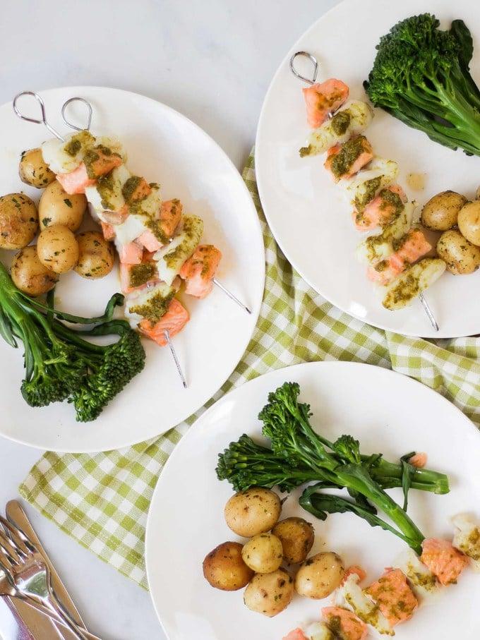 fish salmon kebabs.