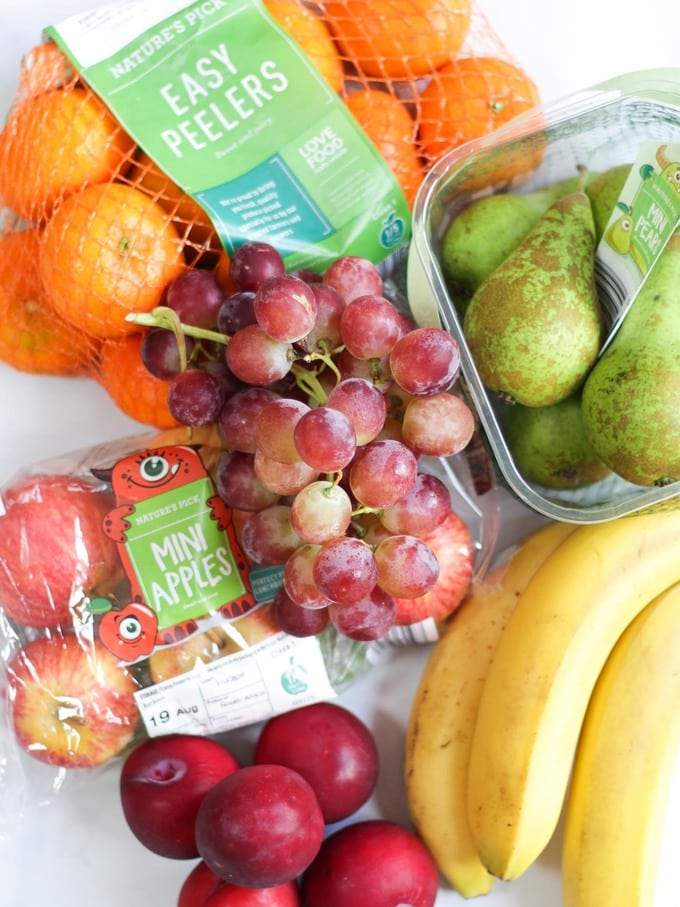 Super 6 fruit and veg from Aldi on white background.