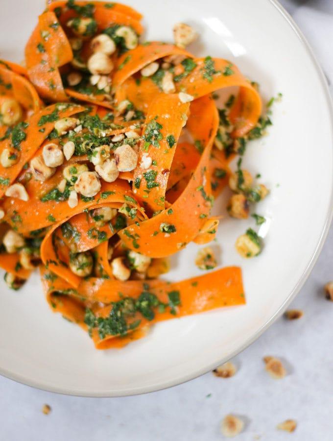 Close up photo of carrot salad.
