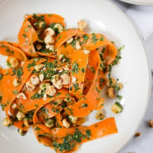 Close up photo of carrot salad.