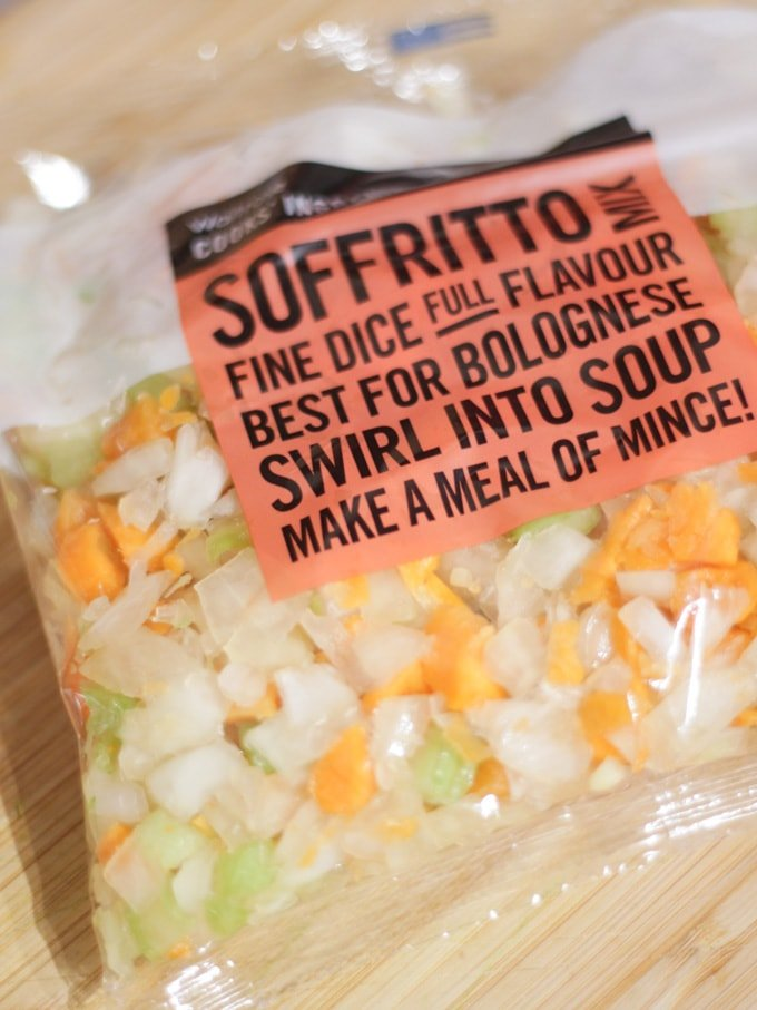 Bag of Waitrose Soffrito mix in plastic packaging.