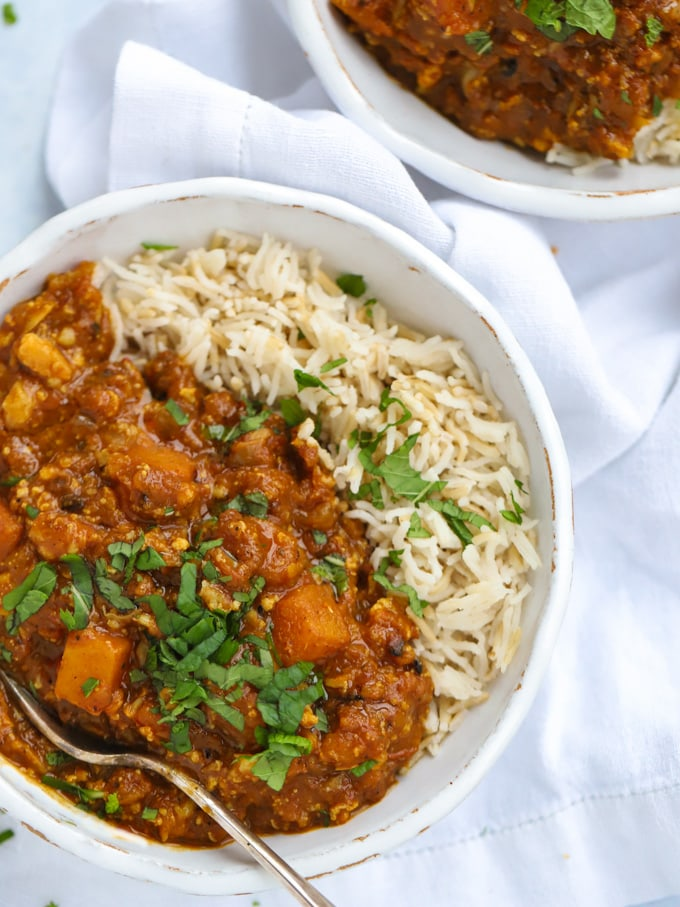 Easy butternut squash curry recipe with rice