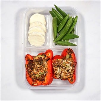 healthy pack lunch idea of stuffed peppers in a compartment lunchbox