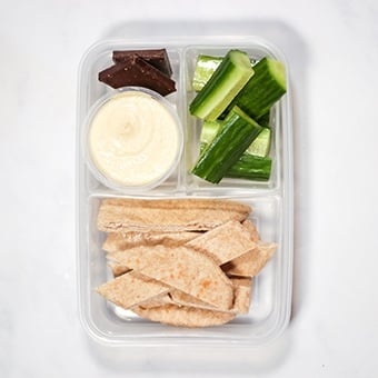 plastic lunchbox healthy lunch idea for work, hummus and pita